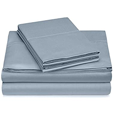 Pinzon 400-Thread-Count Hemstitch Egyptian Cotton Sheet Set - Queen, Smokey Blue