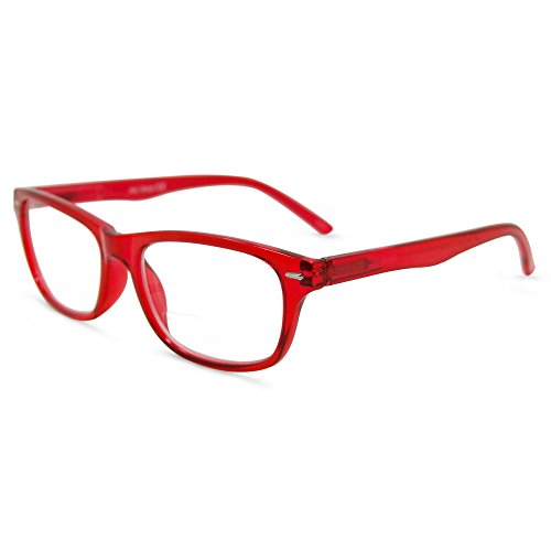 In Style Eyes Seymore Wayfarer BiFocal Reading Glasses Red 2.00