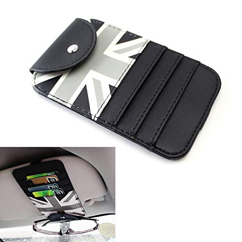 iJDMTOY (1 Black/Grey Union Jack UK Flag Style Sun Visor Organizer Holder for Sunglasses, Credit Cards, FasTrak Transponder, Reader, Garage Remote, ()