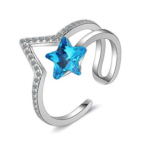 Orris Sapphire Star V-Sharp Sterling Silver Blue Crystal Adjustable Free Size Open Ring