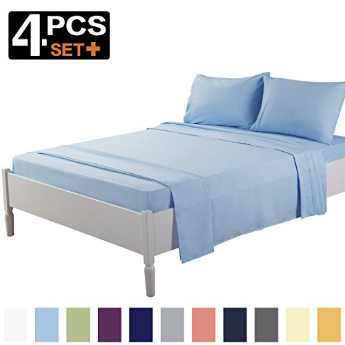 TEKAMON Queen Bed Sheet Set Cooling 100% Microfiber Polyester Extra Deep Pocket Fitted Sheet Breathable And Hypoallergenic Flat Sheet 4 Piece Lake (Microfiber Polyester Sheet Set)