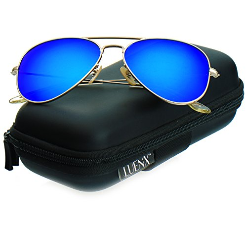 Blue Polarized Lens (LUENX Aviator Polarized Sunglasses for Men & Women with Elegant Glasses Case - UV 400 Protection Dark Blue Mirrored Lens Gold Frame)