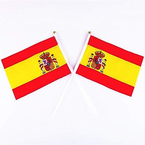 Frmarche - Bandera de España pequeña (20 Unidades, 14 x 21 cm), diseño de Bandera española: Amazon.es: Jardín