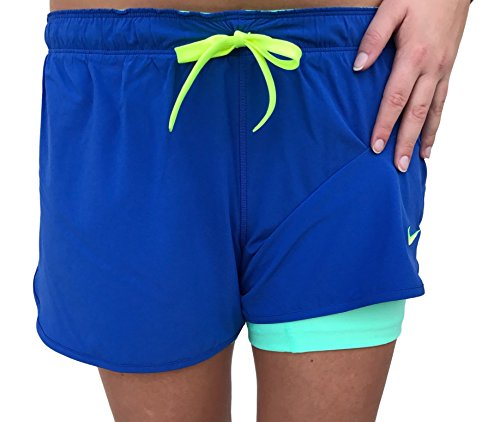 Dri Fit Game (Nike Just Kickin' It Dri-FIT Double-Layer Shorts for Women, Game Royal (Blue) / Electric Green, X-Small)