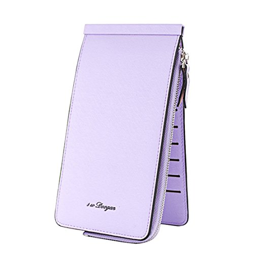 Card Multi Card High Package Leisure Wallet Grey Money New Genuine HopeEye Unisex Capacity Slot purple 4 Leisure Folder Leather pPq4wR