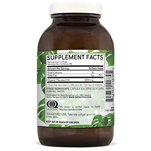 Natural Nutra Organic Flaxseed Oil Softgels, Plant Based Omega 3 6 9, Fatty Acids Supplement (ALA, LA and Oleic Acid), Cold Pressed, 1000 mg, 180 Capsules by Natural Nutraceuticals (Image #1)