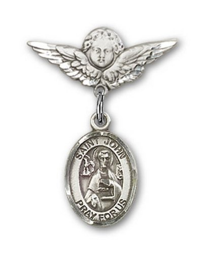 Icecarats Créatrice De Bijoux En Argent Sterling St. John La Broche Badge Apôtre Charme D'Ange 7/8 X 3/4
