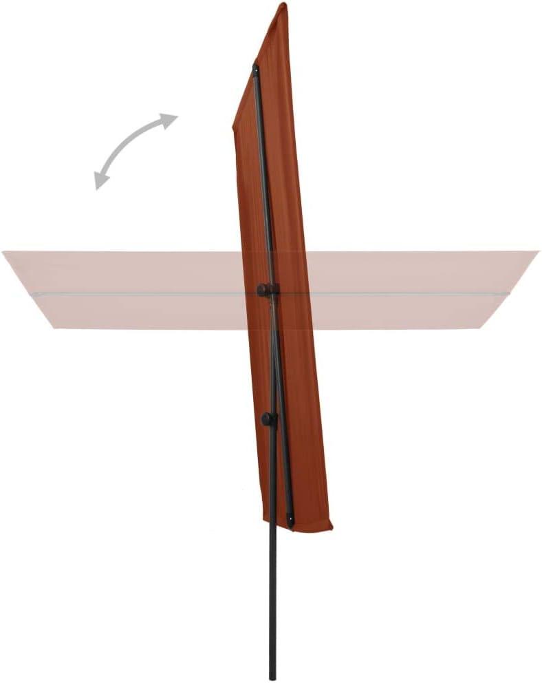 vidaXL Parasol dExt/érieur avec M/ât en Aluminium Pare-Soleil Jardin Patio Terrasse Ext/érieur Anti-UV Anti-d/écoloration 180x130 cm Taupe