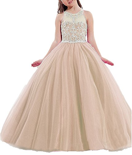 Meilishuo Girls Birthday Party Ball Gowns Beaded Kids Pageant Dresses Long XM006 by Meilishuo