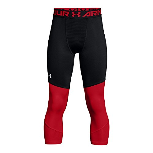 Under Armour Boys' SC30 ¾ Leggings, Black/Pierce Red, Youth Small