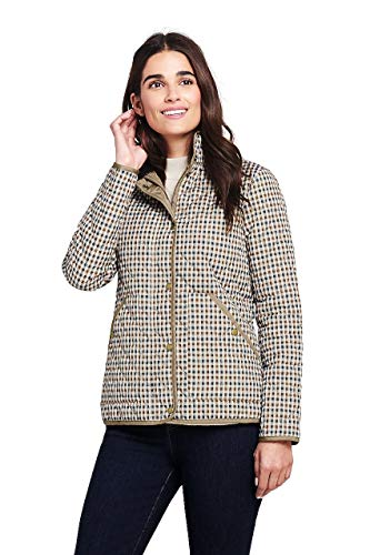 Lands' End Women's Print Quilted Barn Insulated Jacket, S, Admiral Khaki Gingham Plaid (Floral Gingham Jacket)