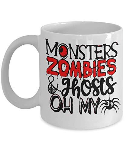 Halloween Mug - Monsters Zombies & Ghosts Oh My - Cute Coffee cup for Halloween -