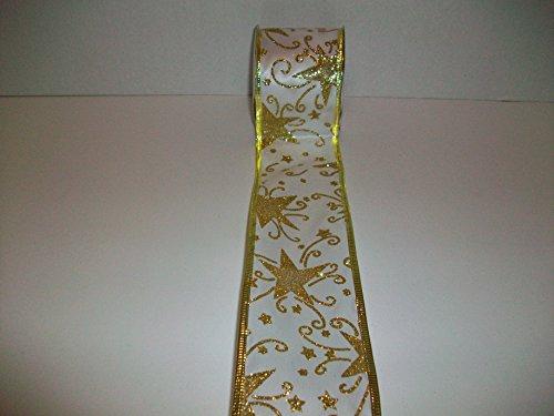 Elegant Star Pattern Ribbon Wired Edge Gift Wrapping, Christmas Ribbon 2-1/2