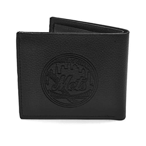 - Fkion Baseball Team Logo Embossed Black Leather Slim Bifold Clip Wallet for Men