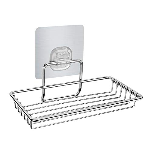 HOMEIDEAS Adhesive Soap Dish Holder - 304 Stainless Steel Wall Mounted Soap Sponge Basket, Rustproof, No Drilling for Bathroom &Kitchen - Basket Mounted Soap Wall
