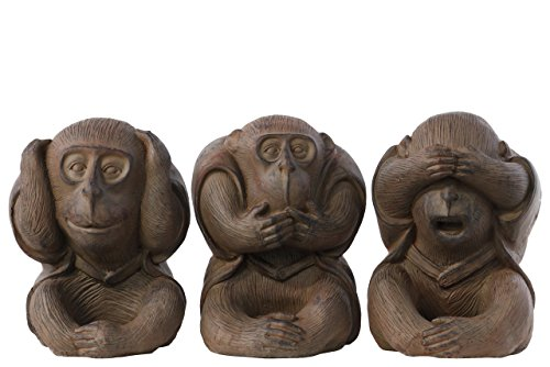 in Sitting Monkey Figurine No Evil Hear/Speak/See Assortment Natural Finish (Set of 3), Brown (Monkey See No Evil Hear No Evil)