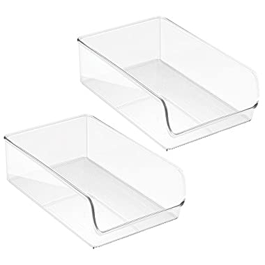InterDesign Linus Kitchen, Pantry, Refrigerator, Freezer Storage Container, Large, 2 Pack, Clear