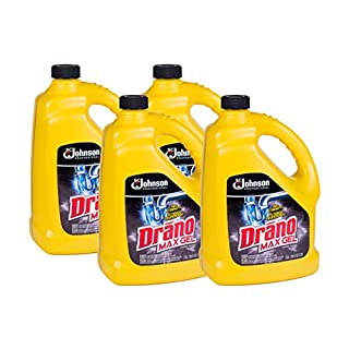 SC Johnson Professional, Drano Max Gel Drain Clog Remover and Cleaner, Unclogs and Removes Hair, Soap Scum, Bloackages, 128 Oz, Pack of 4