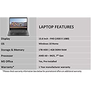 Lenovo IdeaPad S145 AMD A9 -9425 15.6-inch HD Thin and Light Laptop (4GB/1TB/Windows 10/MS Office 2019/Textured Black/1.85Kg), 81N300B8IN