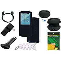 Premium Bundle for Sony Walkman NWZ-E463 NWZ-E464 NWZ-E465 4GB 8GB 16GB MP3 Player: includes Black Silicone Skin Cases, LCD Screen Protector, USB Wall Charger, USB Car Charger, 2in1 USB Data Cable, Mini Portable Capsule Speaker and Fishbone Style Keychain