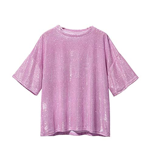 (Aibearty Shiny Tops for Women Ultra Soft Loose Holographic Glitter Metallic Short Sleeves Blouse Hip Hop T-Shirt )