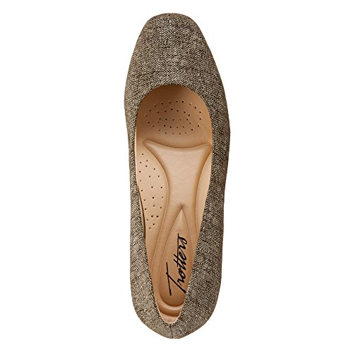 Taupe Women's Wedge Leather Dress Trotters Lauren Textured q7wCxIP0