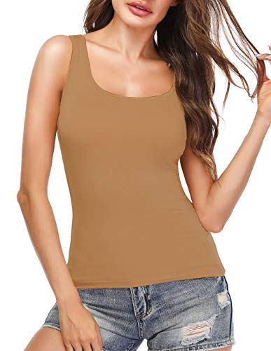 Tank Tops for Women Camisole with Built in Padded Bra Sleeveless Top Brown XL