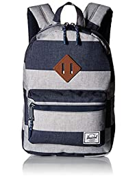 Herschel Heritage Kids Backpack (Border Stripe/Tan Synthetic Leather)