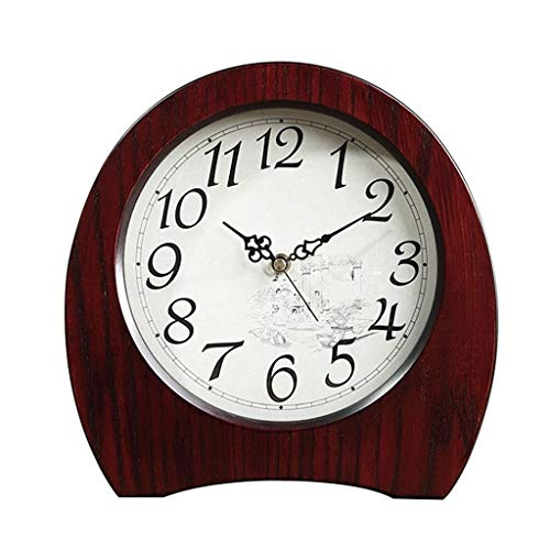 Amazon.com : Family Fireplace Clocks Desktop Watch Tablecloth Clocks for Living Room Retro Solid Wood Watch Mute Decoration ó n Desktop 26X5X26cm Suitable ...