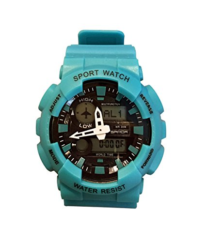Unique Lake Blue Elegant Men's Sports Watch Analog Digital Outdoor Multifunctional Military Fashion Watch -  AUTULET, SD.899-1.BLU.CX