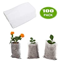 Acchen 100pcs Grow Bags 5 Gallon Thickened Nonwoven Plant Fabric Plant Grow Bags Fabric Home Garden Supply