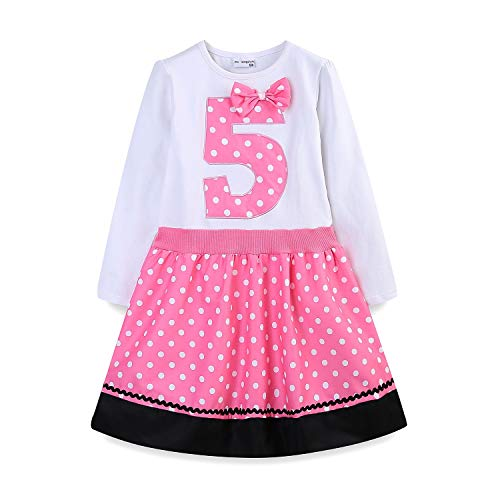 Mud Kingdom 5 Year Old Birthday Dress Girl Cute 5 Long Sleeve Pink -