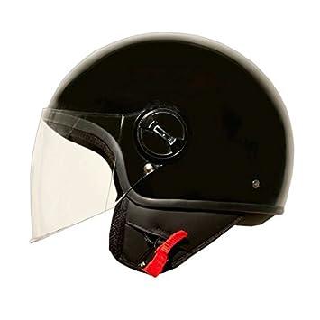 Casco Jet Moto Lift negro brillante Talla S, casco para motocicleta con Calotta de atm