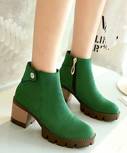 Idifu Kvinna Vintage Plattform Mitten Chunky Klackar Boots Dragkedja Upp Faux Mocka Tossor Grönt