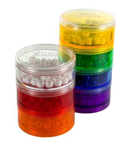 7 Day Stackable Rainbow Pill Reminder with Extra Lid - Large Size Pill Organizer
