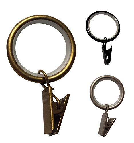 Curtain Clip Rings 1 inch Quiet - Set of 24 (Antique Brass)