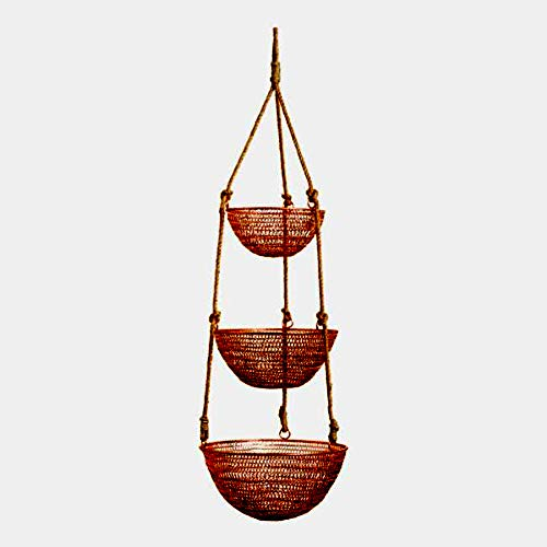 Rustic Copper and Rope 3-Tier Hanging Basket - Metal Craft with Copper Finish and Jute Rope - Good for Space Saving (Hanging Copper Baskets)