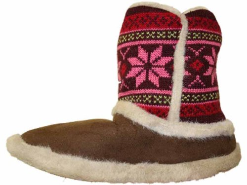 Microsuede Boot Knitted Coolers Womens Slippers Brown Ankle Sq75nw