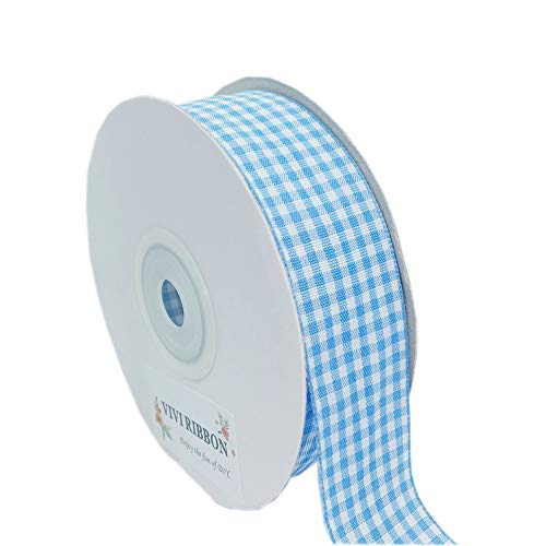 Blue Gingham Ribbon Checkered Ribbon 1-Inch 25 Yard Each Roll 100% Polyester Woven Edge (Light Blue)