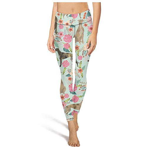 Ukjdahff High Waisted Yoga Pants for Womens Brindle Dog Florals Dressy Girls Stretchy Training Pants ()