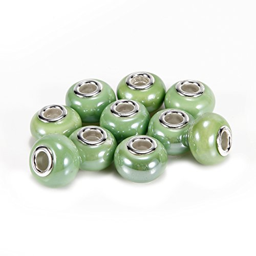 BRCbeads Top Quality 10Pcs Silver Plate Green Color Porcelain Murano Lampwork European Glass Crystal Charm Beads Spacers Fit Troll Chamilia Carlo Biagi Zable Snake Chain Charm (Green Lampwork Beads)
