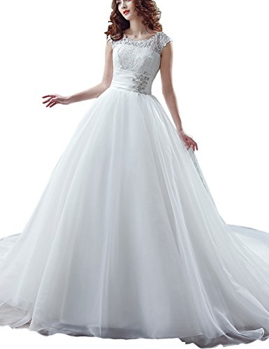 Sarahbridal Women's Lace Tulle Wedding Dress A-Line Brial Gown with Crystal Ivory US12 by Sarahbridal