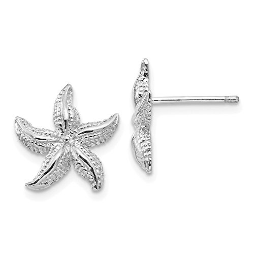 White Earrings Starfish Gold (14K White Gold Polished & Textured Starfish Post Earrings)