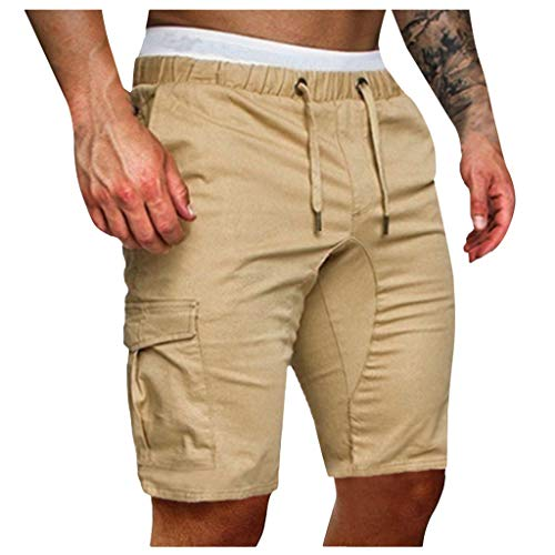 - Shorts for Men,Wadonerful Classic Men's Pant Solid Color Casual Overalls Straps Multi-Pocket Sports Shorts (XL, Khaki2)