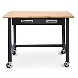 "Seville Classics UltraGraphite Wood Top Workbench on Wheels with Organizer Drawer, 48"" W x 24.7"" D x 37.4"" H"