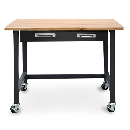 Wood Top Work Table - Seville Classics UltraGraphite Wood Top Workbench on Wheels with Organizer Drawer, 48