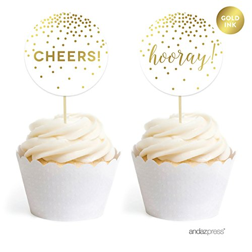 Andaz Press Metallic Gold Confetti Polka Dots Party Collection, Round Cupcake Toppers, 20-Pack