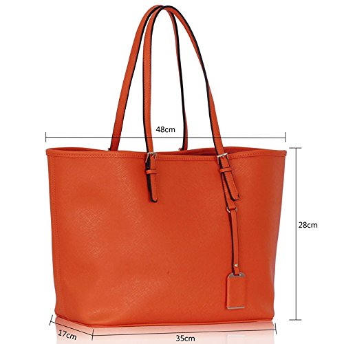 LeahWard® Damen Mode Desinger Große Größe Qualität Einkaufstaschen Damen Modisch Handtasche CWS00297 (Orange)OV