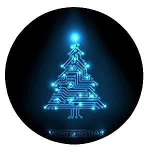 alfombrilla de ratón Vector árbol de Navidad de circuitos digitales - ronda - 20cm
