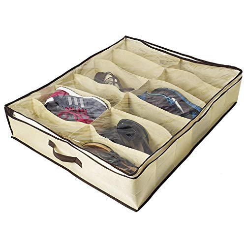 Xixou Under Bed Shoe Organizer for Kids and Adults (12 Pairs) - Underbed Shoes Closet Storage Solution - Made of Breathable Materials with Front Zippered Closure - Easy to Assemble